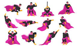 Superhero Actions And Emotions Set. Set of superhero actions and emotions including flying, running and fight, anger and joy isolated vector illustration Royalty Free Stock Images