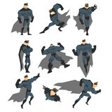 Superhero Actions Set in Comics Style. Vector Illustration Royalty Free Stock Photography
