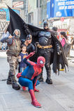 Superhero actors on Times Square Royalty Free Stock Image