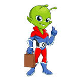 Superhero alien with bag Stock Image