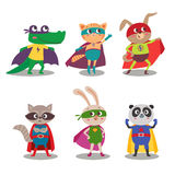 Superhero animal kids. Cartoon vector illustration Royalty Free Stock Photography