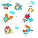 Superhero animals. Vector illustration isolated on white background. Cute little raccoon, rabbit, bear, owl, fox stock illustration