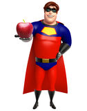 Superhero with Apple royalty free stock images