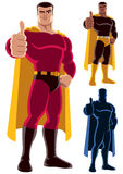 Superhero Approving. Superhero giving thumbs up. On the right are 2 additional versions, including silhouette. No transparency and gradients used Royalty Free Stock Images