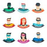 Superhero Avatars Collection Royalty Free Stock Photo