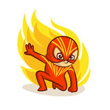 Superhero Baby Boy Fire Sticker. Vector Illustration Royalty Free Stock Images