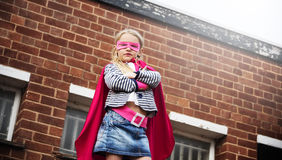 Superhero Baby Girl Brave Adorable Concept. Superhero Baby Girl Brave Adorable Royalty Free Stock Photos