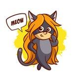 Superhero Baby Girl Cat Sticker Royalty Free Stock Photo