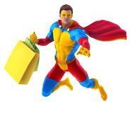 Superhero with bags. Superhero flies with bags after shopping or delivers them somewhere Royalty Free Stock Photography
