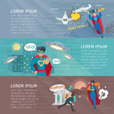 Superhero Banners Set Royalty Free Stock Images