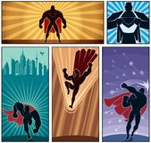 Superhero Banners 2. Set of 4 superhero banners. No transparency and gradients used Royalty Free Stock Photo