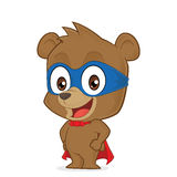 Superhero bear. Clipart picture of a superhero bear cartoon character Stock Image