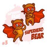 Superhero Bear Vector Illustration Set Stock Images