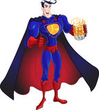 Superhero with beer Royalty Free Stock Images