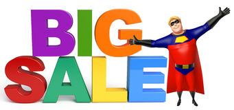 Superhero with Big sale sign. 3d rendered illustration of Superhero with Big sale sign Royalty Free Stock Image