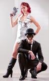 Superhero bizar paar met de mens en vrouw Royalty-vrije Stock Foto's