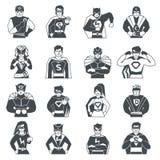 Superhero Black White Icons Set Royalty Free Stock Image