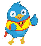 Superhero Blue Bird. Clipart Picture of a Superhero Blue Bird Cartoon Character Royalty Free Stock Photos