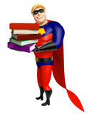 Superhero with Book stack. 3d rendered illustration of Superhero with Book stack Royalty Free Stock Photos