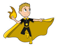 Superhero boy cartoon. Illustration of cute superhero boy with fire-based powers, wearing black costume and yellow cape,  on white background Stock Image