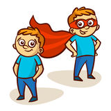 Superhero Boy Clipart. Kid Vector Illustration Set Stock Images