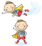 Superhero boy flying and standing Stock Photo