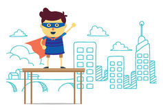 Superhero boy of imagine city stand on box Royalty Free Stock Images
