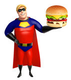 Superhero with Burger Stock Images