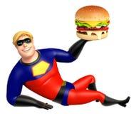 Superhero with Burger Stock Photo