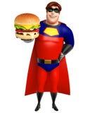 Superhero with Burger Stock Photos