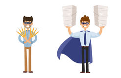 Superhero business man vector illustration set character success cartoon power concept businessman strong person Stock Image