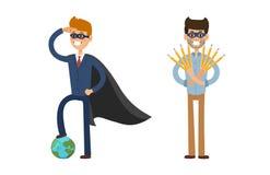Superhero business man vector illustration set character success cartoon power concept businessman strong person Royalty Free Stock Photos