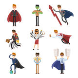 Superhero business man and woman in action vector Royalty Free Stock Image
