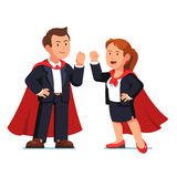 Superhero business man and woman in red capes. Superhero business man and woman managers standing in red capes showing yes winner gestures with clenched fists royalty free illustration