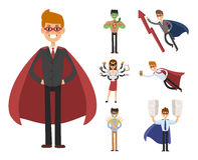 Superhero business man woman vector illustration set character success cartoon power concept businessman strong person Royalty Free Stock Photography