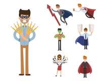 Superhero business man woman vector illustration set character success cartoon power concept businessman strong person Stock Photography