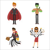 Superhero business man woman vector illustration set character success cartoon power concept businessman strong person Stock Images