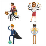 Superhero business man woman vector illustration set character success cartoon power concept businessman strong person Royalty Free Stock Images