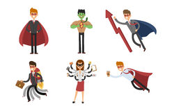 Superhero business man woman vector illustration set character success cartoon power concept businessman strong person Stock Photos