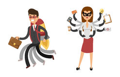 Superhero business man woman vector illustration set character success cartoon power concept businessman strong person Royalty Free Stock Image