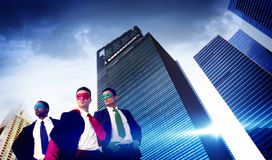 Superhero Business People Strength Cityscape Cloudscape Concept Royalty Free Stock Images