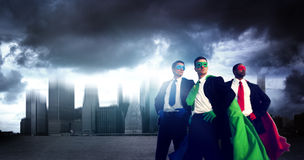 Superhero Business People Strength Cityscape Cloudscape Concept Royalty Free Stock Photo