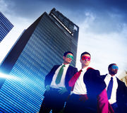 Superhero Business People Strength Cityscape Cloudscape Concept Stock Images
