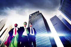 Superhero Business People Strength Cityscape Cloudscape Concept Royalty Free Stock Photos