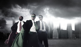Superhero Business People Strength Cityscape Cloudscape Concept Royalty Free Stock Photography