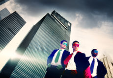 Superhero Business People Strength Cityscape Cloudscape Concept.  Royalty Free Stock Images