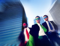 Superhero Business People Strength Cityscape Concept Stock Image