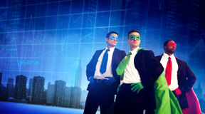 Superhero Business People Strength Cityscape Stock Exchange Conc Royalty Free Stock Image