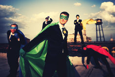 Superhero Business People Strength Cityscape Team Concept Royalty Free Stock Photography