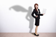 Superhero Business Woman with computer Royalty Free Stock Images